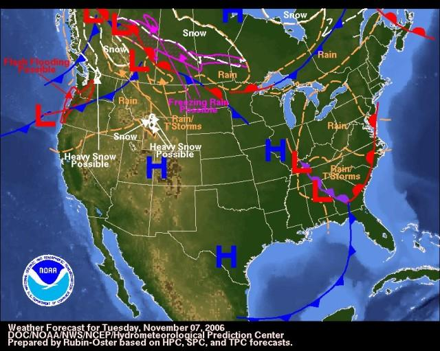 This image shows the weather forecast for the United States of America on Tuesday the 7th of November, 2006. It shows high and low pressure zones as well as areas that could be affected snow, rain, storms and floods.